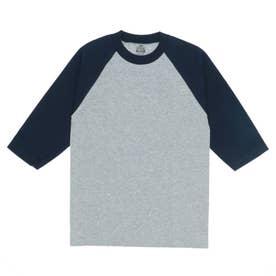 PRO CLUB プロクラブ 135 クルーネック ベースボール Tシャツ (Hグレーxネイビー(袖))