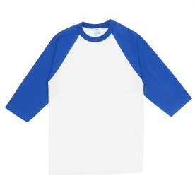 PRO CLUB プロクラブ 135 クルーネック ベースボール Tシャツ (ホワイトxロイヤルブルー(袖))