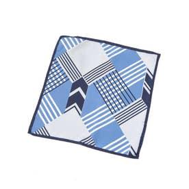 ジオメトリックプリントチーフ ブルー