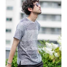 《WEB限定》グラデーションボーダークルーネックTシャツ ブラック