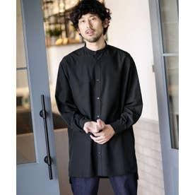 《WEB限定》バンドカラーロングシャツ ブラック