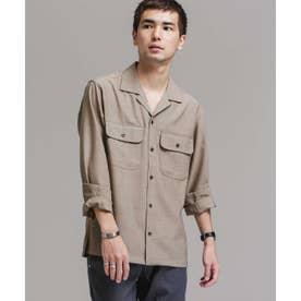 TWオープンカラーシャツ長袖 ブラウン