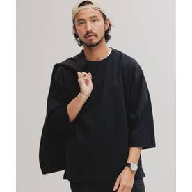 [快適男]クルーネックワイドTシャツ/七分袖 ブラック