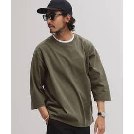 [快適男]クルーネックワイドTシャツ/七分袖 カーキ