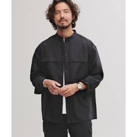 [快適男]ビッグポケットバンドカラーシャツ/長袖 ブラック