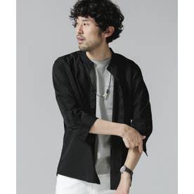エントリーバンドカラーシャツ/7分袖 ブラック