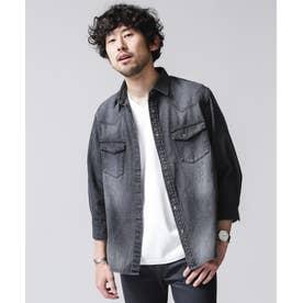 デニムシャツ 7分袖 ブラック