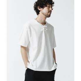レースアップネックTシャツ ホワイト