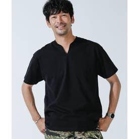 VスリットリブネックTシャツ ブラック