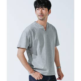 《WEB限定》VスリットリブネックTシャツ トップグレー4