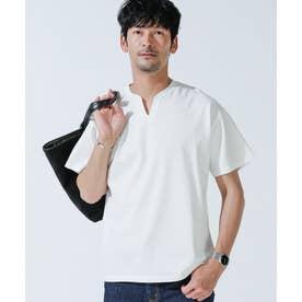 《WEB限定》VスリットリブネックTシャツ ホワイト