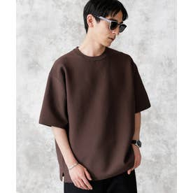 バックラグランライトウェイトニットTシャツ ブラウン
