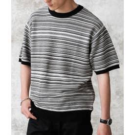 マルチBDガーターニットTシャツ ブラック