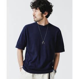 《WEB限定》パーツニッティングドライニットTシャツ ネイビー