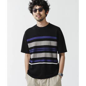 《WEB限定》マルチボーダードライニットTシャツ ブラック