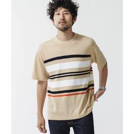 《WEB限定》マルチボーダードライニットTシャツ ベージュ