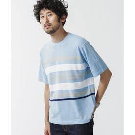 《WEB限定》マルチボーダードライニットTシャツ サックス5
