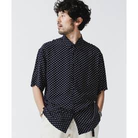 ポルカドットレギュラーカラーシャツ ネイビー
