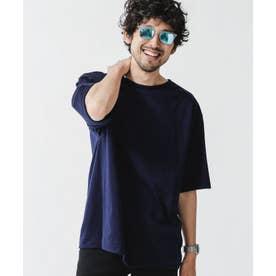 [久米繊維]×NUビッグボートネックTシャツ ネイビー