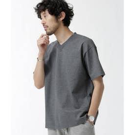 NO MUFFINスタンディングワイドVネックTシャツ チャコール3