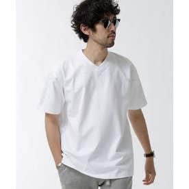 NO MUFFINスタンディングワイドVネックTシャツ ホワイト