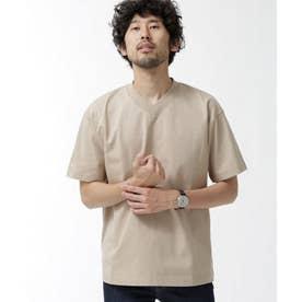 NO MUFFINスタンディングワイドVネックTシャツ ベージュ