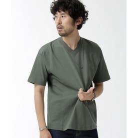 NO MUFFINスタンディングワイドVネックTシャツ カーキ