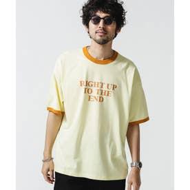 ロゴプリントトリムビッグTシャツ イエロー