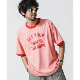 ロゴプリントトリムビッグTシャツ ピンク