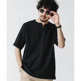 ユニフレッシャーリネン キーネックシャツ ブラック