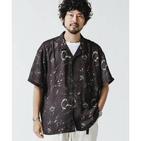 シャドーフラワーオープンカラーシャツ ブラック