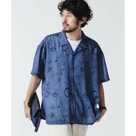 シャドーフラワーオープンカラーシャツ ブルーグレー5