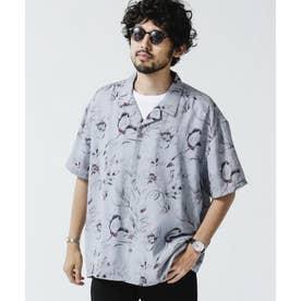 シャドーフラワーオープンカラーシャツ グレージュ3