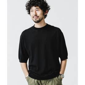 ハイツイストソリッドニットTシャツ ブラック