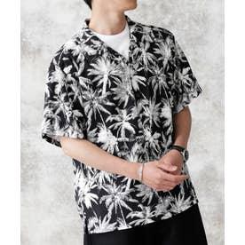 ヤシ柄レーヨンオープンカラーシャツ パターン1