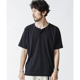 ピマコットンヘンリーネックTシャツ 半袖 ブラック