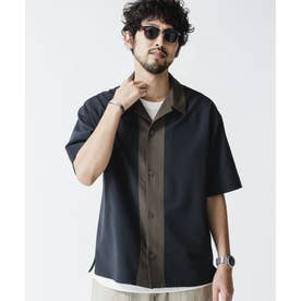 カラードッキング オープンカラーシャツ チャコール3