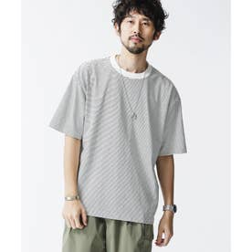オーバーサイズボーダーTシャツ 半袖 ホワイト