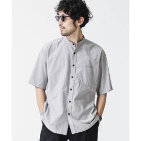 リラックスフィットバンドカラーシャツ 半袖 グレー