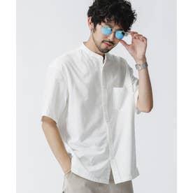 リラックスフィットバンドカラーシャツ 半袖 ホワイト