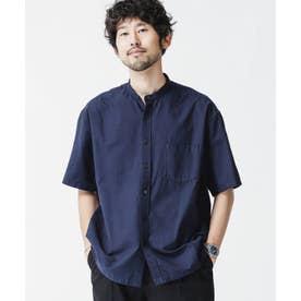 リラックスフィットバンドカラーシャツ 半袖 ネイビー