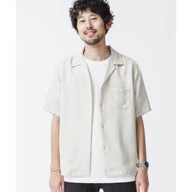 ドレープオープンカラーシャツ 半袖 ライトベージュ1