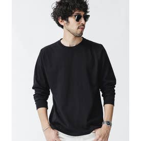 《WEB限定》超長綿リラックスフィットクルーネックTシャツ 長袖 ブラック