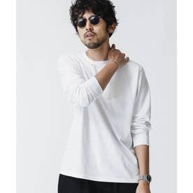 《WEB限定》超長綿リラックスフィットクルーネックTシャツ 長袖 ホワイト