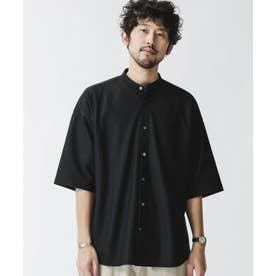 バンドカラー五分袖メッシュシャツ ブラック