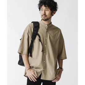 バンドカラー五分袖メッシュシャツ ベージュ