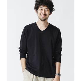超長綿リラックスフィットVネックTシャツ 長袖 ブラック