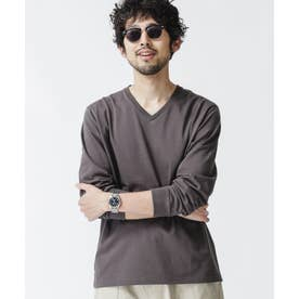 超長綿リラックスフィットVネックTシャツ 長袖 スミクロ1