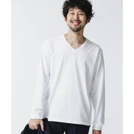 超長綿リラックスフィットVネックTシャツ 長袖 ホワイト