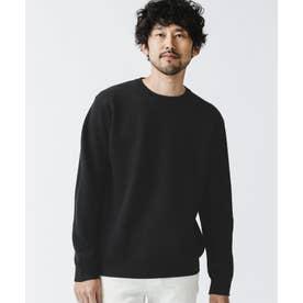 《WEB限定》シルケット鹿の子編みクルーネックニット ブラック